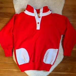 Vintage red/white hooded sweatshirt, pockets szL